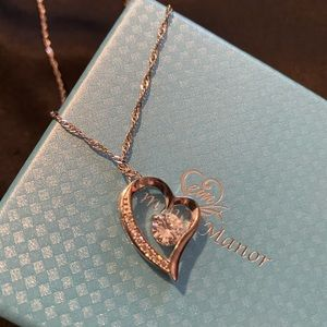 Jewelry - 14k white gold plated heart necklace